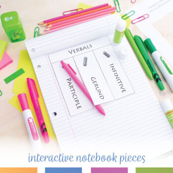 Verbals Interactive Notebook Pieces and Scramble