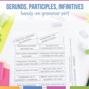Verbals Interactive Notebook Pieces and Scramble