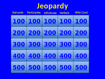 Verbals Jeopardy Game