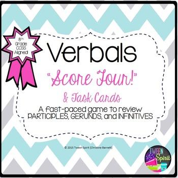 Verbals- PARTICIPLE, GERUND, INFINITIVE-Task Cards & Games