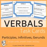 Verbals - Participles, Gerunds, Infinitives Task Cards