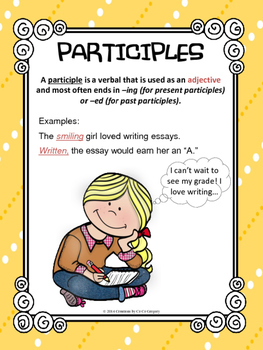 Verbals Participles and Participial Phrases Classroom Poster L.8.1a