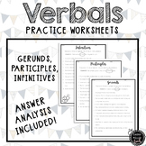 Verbals Practice Worksheets (Gerunds, Participles, Infinitives)