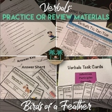 Verbals Practice or Review Worksheet, Activity, & Task Cards