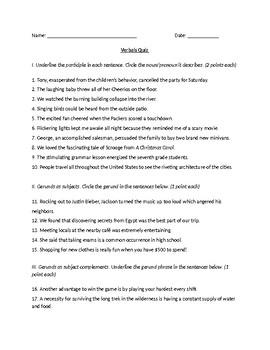 Verbals Quiz or Practice