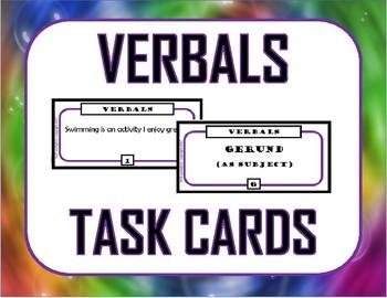 Verbals Task Cards (Gerunds, Infinitives, Participles)