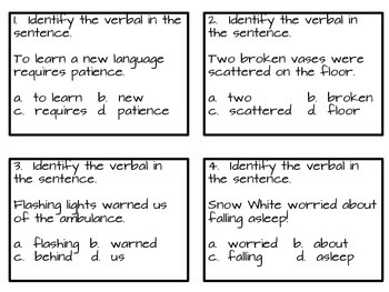 Verbals--Task Cards for Practice and Learning Centers
