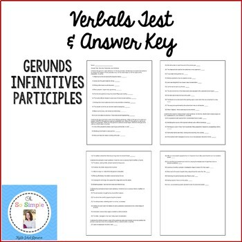 Verbals Test and Answer Key