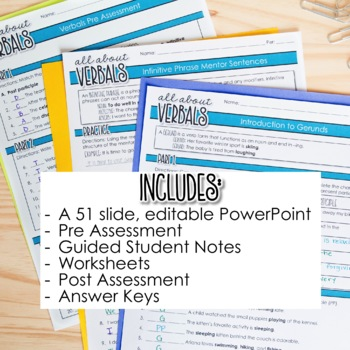 Verbals Unit: Participles, Gerunds, & Infinitives PowerPoint, Teaching Materials
