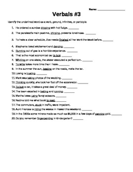 Verbals Worksheet | Teachers Pay Teachers