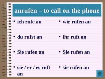 Verben (Verbs in German) power point