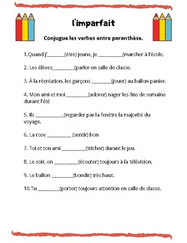 Verbes A Conjuguer L Imparfait By Kelley Dender Tpt