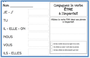 French imperfect tense - 60 French verbs to conjugate - French writing exercises