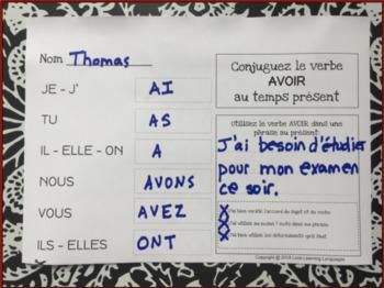 Verbes Au Present 60 Verbes Francais A Conjuguer Tpt
