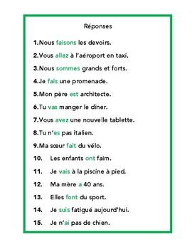 Verbes avoir, être, faire, aller, jeu à trous, game in French