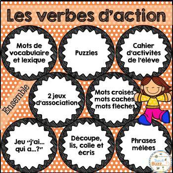 Verbes d'action - Ensemble - French Action Verbs - Bundle