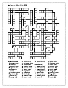 RE, CER, GER verbs in French Present Tense Crossword