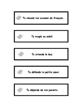 Verbes en -ir et -re, jeu de mime, French charades game