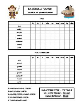 Verbes en -ir, verbes du deuxième groupe, bataille navale, battleship in French