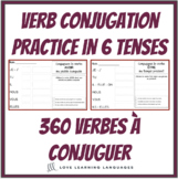 French verb conjugations - BUNDLE - 360 conjugation worksheets