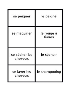 Verbes réfléchis (French Reflexive verbs) Toiletries Concentration games