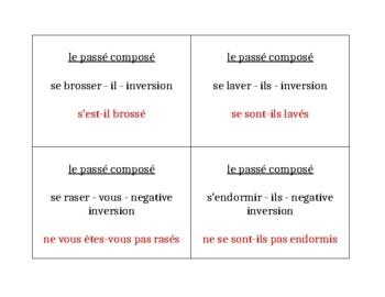 Verbes réfléchis au passé composé French Question Question Pass Activity