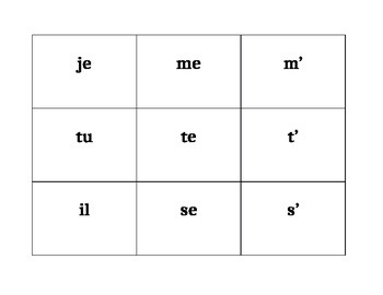 Verbes réfléchis (French Reflexive verbs) Conjugator cards