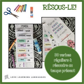 French present tense verbs cut and paste-30 verbes français à découper et coller