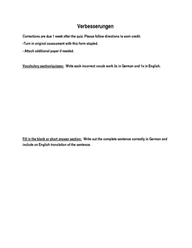 (GERMAN LANGUAGE) Corrections Form for German Tests and Quizzes