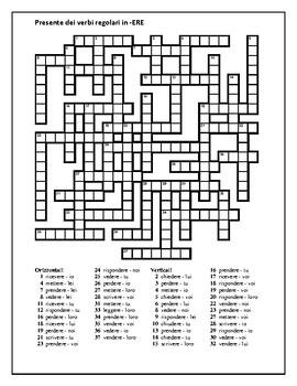 ERE verbs in Italian Verbi ERE Present tense Crossword