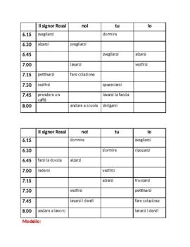 Verbi riflessivi (Italian Reflexive Verbs) Routine quotidiana Info Gap