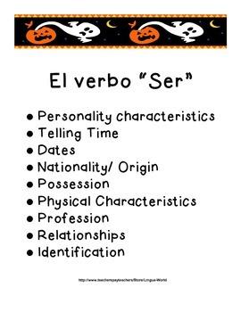 """Verbo SER en español:Hojas de práctica- Spanish Verb """"SER"""" Practice Activities"""