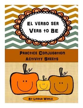 """Verbo SER en español:Hojas de práctica- Spanish Verb """"SER"""""""