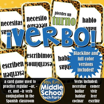 ¡VERBO!- uno card game for Regular Verbs in Spanish (PDF)