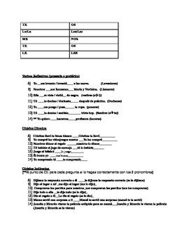 Verbos Reflexivos /Objetos Directos / Indirectos - QUIZ 2