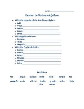 Verbos and Adjetivos Test