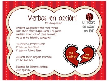 ¡Verbos en acción! - Matching Game with Worksheets - Spanish - Heart themed