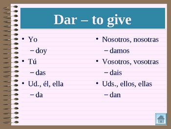 Verbos irregulares (Irregular verbs in Spanish) power point