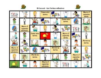 Verbos reflexivos (Spanish Reflexive verbs) Caracol Snail game