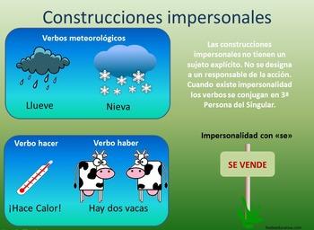 Verbos y construcciones impersonales Impersonal verbs in spanish - Poster