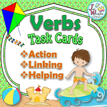 Literacy Activity with Verb Task Cards with Action Linking