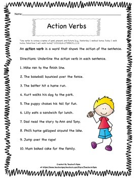 Verbs for First Grade