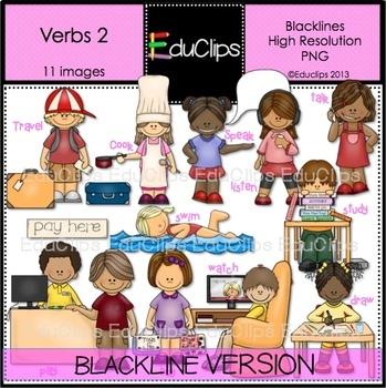 Verbs 2 Clip Art BLACKLINES {Educlips Clipart}