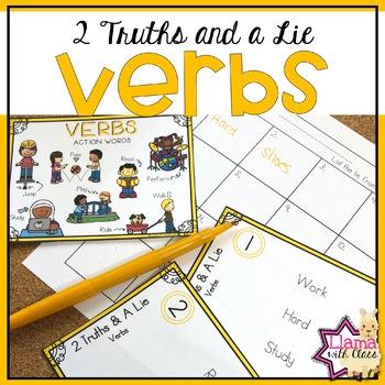 Verbs 2 Truths and a Lie Task Card Activity