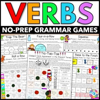 Verbs Games {Verb Tenses, Irregular Verbs, Past Tense, Future Tense...}