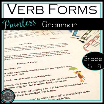 Verb Forms with Task Cards and Student Notes {Grades 5-8}