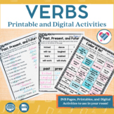Verbs Printables and Interactive Notebook Templates DISTANCE LEARNING