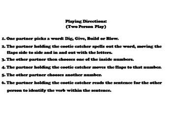 Verbs Activity 3rd, 4th Grade Grammar Games (Parts of Speech Foldable)