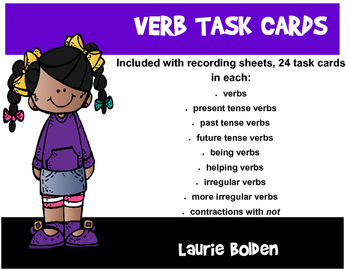 Verb Task Cards with Recording Sheets, 24 cards for each section