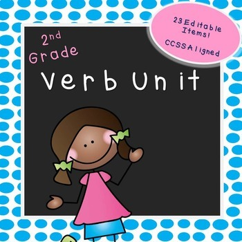 Second Grade Verb Unit (EDITABLE!)